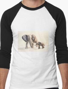 Mama and Baby Elephant Men's Baseball ¾ T-Shirt
