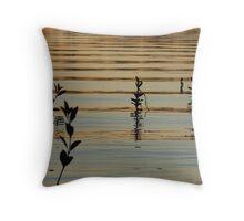 Orange Mangrove Leafy Sunset Ripples Throw Pillow