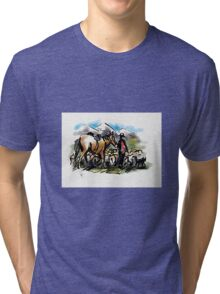Hill country sheep muster. New Zealand Tri-blend T-Shirt