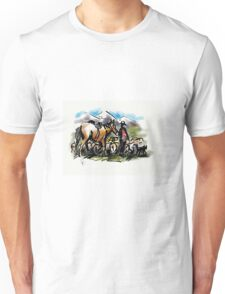 Hill country sheep muster. New Zealand Unisex T-Shirt