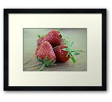 A close-up image  of strawberries Framed Print