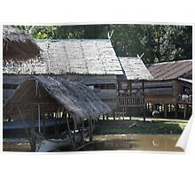 Traditional Tribe Houses - Borneo Poster