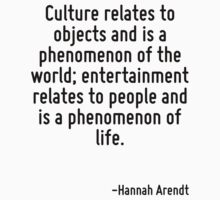 Culture relates to objects and is a phenomenon of the world; entertainment relates to people and is a phenomenon of life. by Quotr