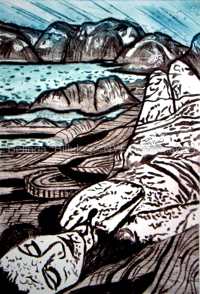"The Lady is the Landscape - Drypoint Etching by Belinda ""BillyLee"" NYE (Printmaker)"