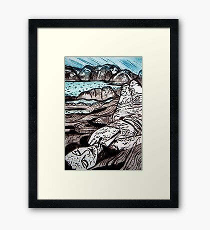 The Lady is the Landscape - Drypoint Etching Framed Print