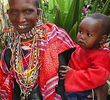 Maasai (or Masai) Mother & Child, East Africa by Carole-Anne