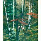 Deep Woods - Doe & Fawn - Acrylic Paint by Gordon Pegler