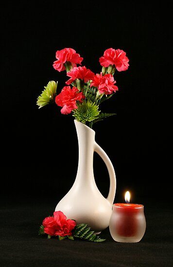 Carnations and Candle by Sheryl Kasper
