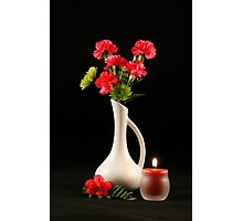 Carnations and Candle Photographic Print