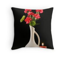 Carnations and Candle Throw Pillow