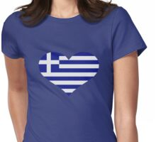 Greece flag heart Womens Fitted T-Shirt