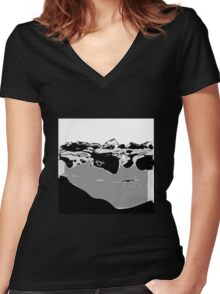 Black and White abstract art Women's Fitted V-Neck T-Shirt