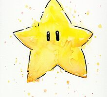 Mario Invincibility Star Watercolor by OlechkaDesign