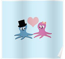 Cute Octopus Couple Poster