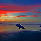 Two Surfers @ Sunset by Ray Smith