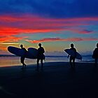 Surfers at Sunset by Ray Smith