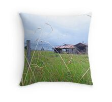 distant farm shed Throw Pillow