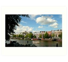 Summer-evening at the River Amstel Art Print