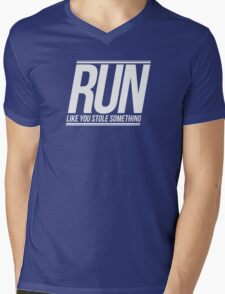 Run Like You Stole Something (White) Mens V-Neck T-Shirt