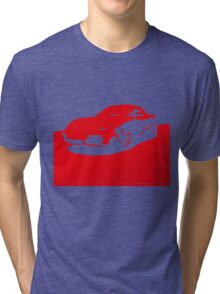 Porsche Cayman S - Guards Red on Black Tri-blend T-Shirt