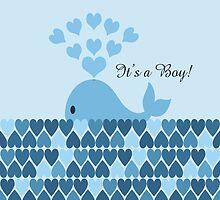It's a boy! Cute Blue Whale by Eggtooth