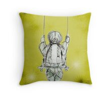 Girl on a swing. Throw Pillow