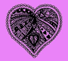 Valentine Heart 3 Aussie Tangle - Choose Your Own Background Colour  by Heatherian