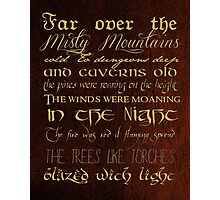 Misty Mountains Thorin's Song Photographic Print