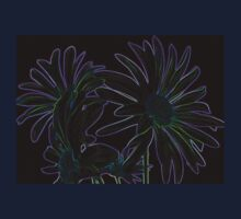 Neon Purple Outlined Green and Blue Flower Abstract One Piece - Short Sleeve