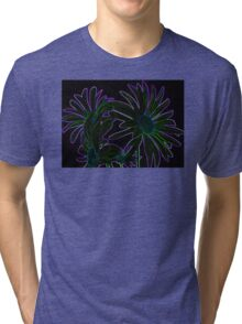 Neon Purple Outlined Green and Blue Flower Abstract Tri-blend T-Shirt