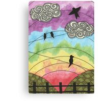Birds on the wire 2 Canvas Print