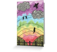 Birds on the wire 2 Greeting Card