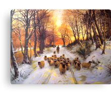 Sheperd dog herding the flock oil painting reproduction of 18th centuary artist Canvas Print