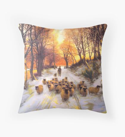 Sheperd dog herding the flock oil painting reproduction of 18th centuary artist Throw Pillow