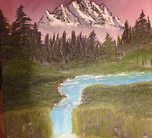 Velvet Mountain - Bob Ross Inspired Painting by DinosAreReal