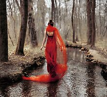 red dress in the river by LauraZalenga