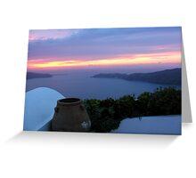 Grecian Blue Sunset Greeting Card