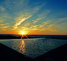 Seawater Swimming Pool - Sunset by Ray Smith