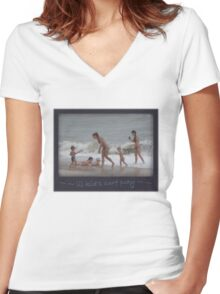 Lil kid's SURF Playing Women's Fitted V-Neck T-Shirt