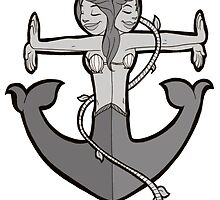 Mermaid Anchor in Gray by Kit Fox