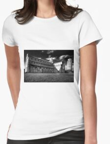 Leaning Tower of Pisa in mono Womens Fitted T-Shirt