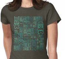 Tiki Stacks, Teal Womens Fitted T-Shirt