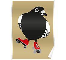 Roller skating pigeon Poster