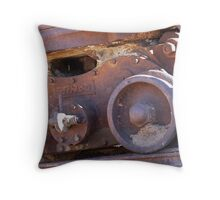 Wheels on an old coal mining cart  Throw Pillow