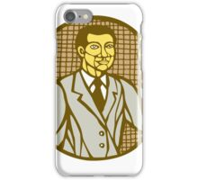 Asian Scientist Test Tube Woodcut Linocut iPhone Case/Skin
