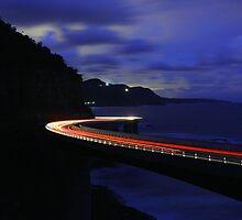 Light Trails on Sea Cliff Bridge by coalcliff