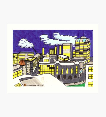 City Landscape at Night Art Print