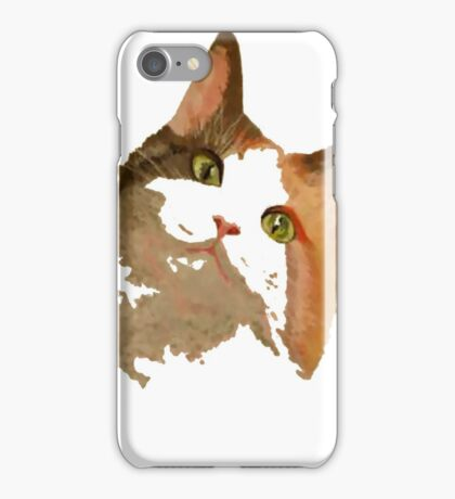 I'm All Ears - Cute Calico Cat Portrait iPhone Case/Skin