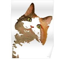 I'm All Ears - Cute Calico Cat Portrait Poster