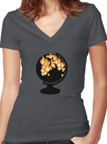 We burned it. Women's Fitted V-Neck T-Shirt
